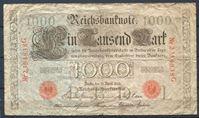 Изображение Германия 1910 г. P# 44b • 1000 марок • красный серийный номер • регулярный выпуск  • серия № - 7 цифр • F-