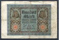 Изображение Германия 1920 г. P# 69a • 100 марок • регулярный выпуск  • серия № - 7 цифр • VF- ( кат. - $10 )