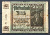 """Image de Германия 1922 г. P# 81a • 5000 марок • в.з. """"буквы G D"""" • регулярный выпуск • VG"""