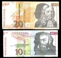 Bild von Словения 1992 г. P# 11-12 • 10 и 20 толаров • регулярный выпуск • VF-XF