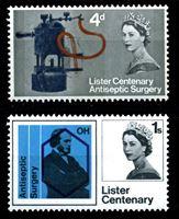 Изображение Великобритания 1965 г. Gb# 667-8 • 4 d. и 1 sh. • 100-летие открытия антисептической хирургии • MNH OG XF • полн. серия