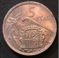 Изображение Испания 1957 г. (69 ) • KM# 786 • 5 песет • генерал Франко • регулярный выпуск • MS BU ( кат.- $5,00 )