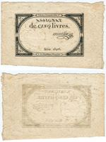 Изображение Франция 1793 г. • 5 ливров  [Ass-46a] • Signature 73-Martin • AU-UNC