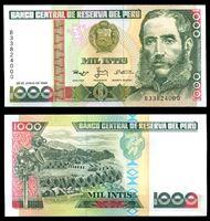Bild von Перу 1988 г. P# 136b • 1000 инти • Цезарь Вальехо • регулярный выпуск • UNC пресс