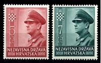 Изображение Хорватия 1943 г. SC# B29-30 • в поддержку молодежи • Анте Павелич • благотворительный выпуск • MNH OG XF • полн. серия