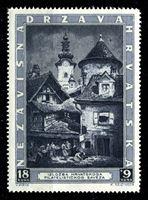 Изображение Хорватия 1943 г. SC# B39 • 18 + 9 k. • Филателистическая выставка в Загребе • церковь св. Марии • благотворительный выпуск • MNH OG XF