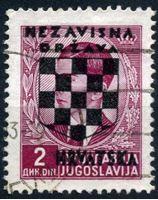 Изображение Хорватия 1941 г. SC# 13 • 2 d. • 2-й выпуск независимой Хорватии • надпечатка • Used XF