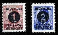 Изображение Хорватия 1941 г. SC# 24-5 • 3-й выпуск независимой Хорватии • надпечатки • MNH OG XF • пара