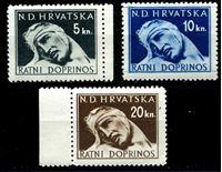 Изображение Хорватия 1944 г. SC# RT4-6 • 5,10 и 20 k. • раненый солдат • фискальный выпуск • MNH OG XF