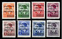 Изображение Хорватия 1941 г. SC# 1-8 • 50 p. - 5.50 d. • 1-й выпуск независимой Хорватии • надпечатки на м. Югославии • Mint NG VF • полн. серия ( кат.- $90 )