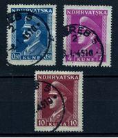 Изображение Хорватия 1943-44 гг. SC# 62,69,73 • 50 b.,4 и 10 k. • Анте Павелич • Used VF