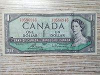 Bild von Канада 1954 г. • 1 доллар • регулярный выпуск  • серия № - R/F 9586946 • VF