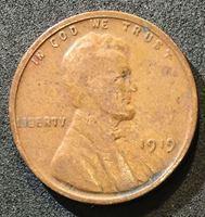 Picture of США 1919 г. • KM# 132 • 1 цент • Авраам Линкольн • регулярный выпуск • VG+