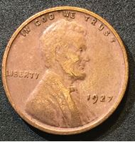 Изображение США 1927 г. • KM# 132 • 1 цент • Авраам Линкольн • регулярный выпуск • F-