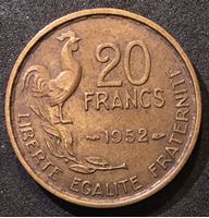 Bild von Франция 1952 г. • KM# 917 • 20 франков • петух • регулярный выпуск • XF-AU