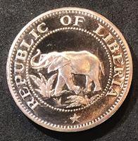 Изображение Либерия 1972 г. • KM# 14 • 5 центов • слон • парусник • регулярный выпуск • MS BU люкс! • пруф