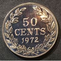 Picture of Либерия 1972 г. • KM# 17a.2 • 50 центов • девушка • регулярный выпуск • MS BU люкс! • пруф