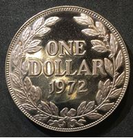 Picture of Либерия 1972 г. • KM# 18a.2 • 1 доллар • девушка • регулярный выпуск • MS BU люкс! • пруф