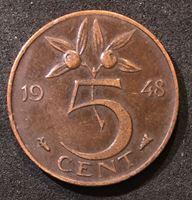 Bild von Нидерланды 1948 г. • KM# 176 • 5 центов • год - тип • королева Вильгельмина I • регулярный выпуск • XF-AU
