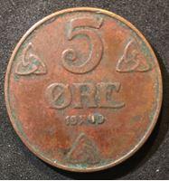Bild von Норвегия 1940 г. • KM# 368 • 5 эре • регулярный выпуск • VF+