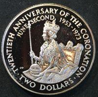 Picture of Кука о-ва 1973 г. • KM# 8 • 2 доллара • 25-летие коронации Елизаветы II • памятный выпуск • MS BU • пруф