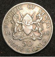 Изображение Кения 1968 г. • KM# 4 • 50 центов • герб Кении • президент Джомо Кениата • регулярный выпуск • XF+