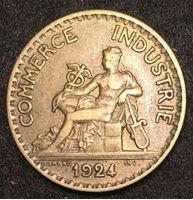 Изображение Франция 1924 г. • KM# 876 • 1 франк • бог торговли Меркурий • регулярный выпуск • XF-AU