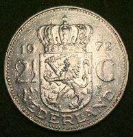 Изображение Нидерланды 1972 г. • KM# 191 • 2 ½ гульдена • королева Юлиана • регулярный выпуск • VF