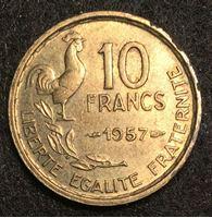 Изображение Франция 1957 г. • KM# 915.1 • 10 франков • петух • регулярный выпуск • MS BU