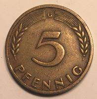 Изображение Германия ФРГ 1949 г. G (Карлсруэ) • KM# 102 • 5 пфеннигов • год - тип • регулярный выпуск • XF ( кат.- $15,00 )