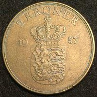 Изображение Дания 1957 г. • KM# 838.2 • 2 кроны • Фредерик IX • регулярный выпуск • AU
