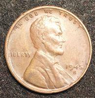 Изображение США 1945 г. S • KM# A132 • 1 цент • Авраам Линкольн • регулярный выпуск • XF+