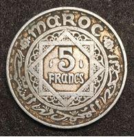 Изображение Марокко 1951 г. • KM# Y48 • 5 франков • (1370 г.) • год - тип • регулярный выпуск • XF-