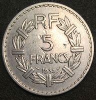 Изображение Франция 1935 г. • KM# 888 • 5 франков • регулярный выпуск • AU