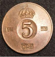 Изображение Швеция 1953 г. • KM# 822 • 5 эре • регулярный выпуск • AU ( кат.- $8,00 )