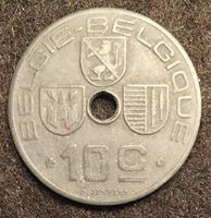 """Изображение Бельгия 1942 г. • KM# 126 • 10 сантимов • текст """"Belgie-Belgique"""" • регулярный выпуск • XF+"""
