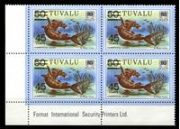 Изображение Тувалу 1981 г. SC# 150 • 45 на 50 c. • Фауна океана • акула-молот • надпечатка нов. номинала • MNH OG Люкс • кв.блок