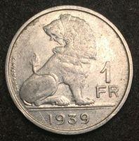 """Изображение Бельгия 1939 г. • KM# 119 • 1 франк • """"Belgique-Belgie"""" • бельгийский лев • регулярный выпуск • XF+"""