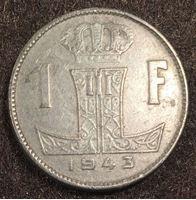 """Изображение Бельгия 1943 г. • KM# 127 • 1 франк • текст """"Belgique-Belgie"""" • регулярный выпуск • AU+ ( кат.- $6,00 )"""