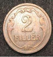 Изображение Венгрия 1937 г. • KM# 506 • 2 филлера • регулярный выпуск • XF-