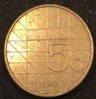 Изображение Нидерланды 1990 г. • KM# 210 • 5 гульденов • королева Беатрикс • регулярный выпуск • XF-AU