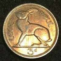 Изображение Ирландия 1962 г. • KM# 12a • 3 пенса • заяц • регулярный выпуск • MS BU ( кат.- $8,00 )