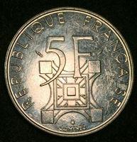 Изображение Франция 1989 г. • KM# 968 • 5 франков • 100-летие открытия Эйфелевой Башни • памятный выпуск • BU ( кат.- $10,00 )