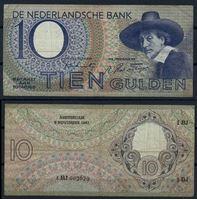 Изображение Нидерланды 1943 г. P# 59 • 10 гульденов • шталмейстер в шляпе • регулярный выпуск • VF-