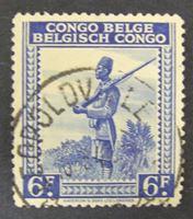Изображение Бельгийское Конго 1942 г. SC# 274 • Местные мотивы. Воин • Used XF