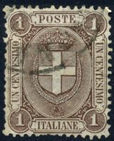 Изображение Италия 1896-7 гг. SC# 74 • 1 c. • герб Савойи • Used XF ( кат.- $7 )