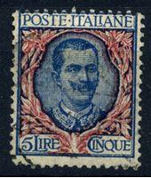 Изображение Италия 1901-26 гг. SC# 91 • 5 L. • Король Виктор Эммануил II (концовка) • Used XF ( кат.- $7,25 )