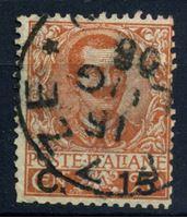Изображение Италия 1905 г. SC# 92 • 15 c. на 20 c. • Король Виктор Эммануил II • надпечатка нов. номинала • Used VF- ( кат.- $2 )