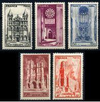 Изображение Франция 1944 г. Gb# B185-9 • Кафедральные соборы • благотворительный выпуск • MLH OG XF • полн. серия
