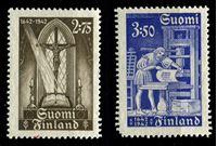 Изображение Финляндия 1942 г. Gb# 241-2 • 2.75 и 3.50 Mk. • 300-летие первой финской печатной Библии • MNH OG VF • полн. серия